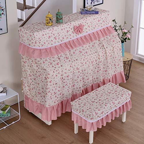 LDIW piano beschermhoes met 153 x 33 x 120 cm, met enkele/dubbele kruk afdekking +SingleStoolcover roze