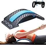 HOTOY Back Stretcher,Back Pain Relief Device Back Massager Lumbar Stretching Device Spinal Chiropractor Fitness Equipment Back Support for Bed & Chair&Car,Free Wearable Posture Corrector (Blue)