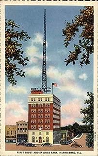 First Trust and Savings Bank Harrisburg, Illinois Original Vintage Postcard