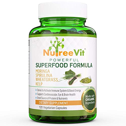 NutreeVit 100% Organic Powerful Superfood Formula - Immune System Booster Energy Pills with Moringa, Spirulina, Wheatgrass, and Kelp -
