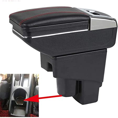 Armrest Console Center Storage Box with Base Cup Holder Ashtray for Honda Fit Jazz 2008 2009 2010 2011 2012 2013 Interior Center Consoles Rotatable Black Storage Arm Rest Dual Layer With 7 USB Charge Port