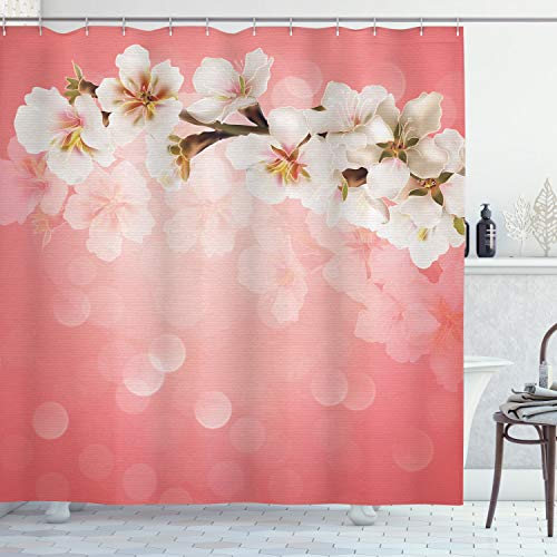 Ambesonne Coral Shower Curtain, Blossoming Tree Branch Japanese Cherry Sakura Fresh Spring Garden Romantic, Cloth Fabric Bathroom Decor Set with Hooks, 70' Long, Coral Green