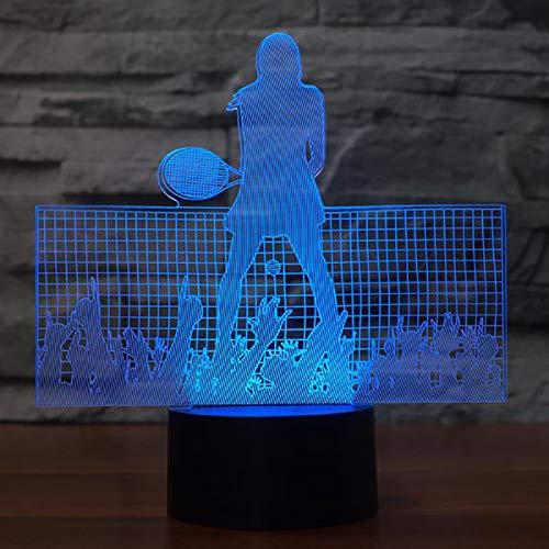 Luz de Noche Tenis Ilusión óptica Lámpara 3D 7 Colores Cambio de Control táctil Luz de Mesa LED Lámpara para Dormir Decoración del hogar Cumpleaños/Navidad/Regalos de Fiesta para niños