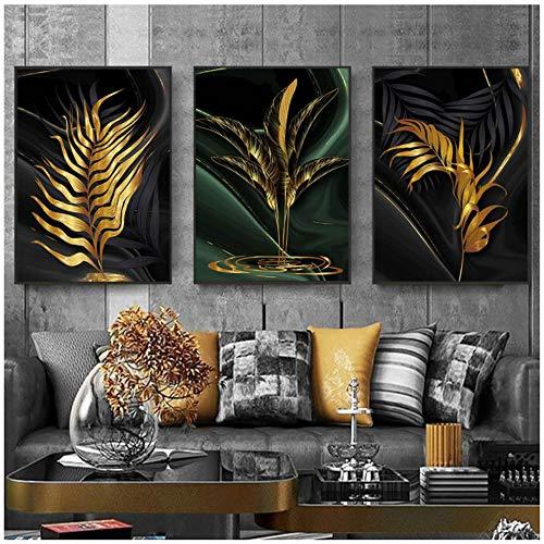 ZHANGPENGBOFBH Blätter Malerei Gold Wandbilder Leinwandbilder Moderne Kunst Poster und Kunstdrucke Abstrakt Schwarz Leinwand Wohnzimmerbilder -50x70cm Ohne Rahmen