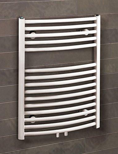 Bad-Heizkörper Florenz gebogen, 70x50 cm, 331 Watt Leistung, Mittelanschluss, alpin-weiß, Handtuchhalter-Funktion, Der Renovierungsprofi