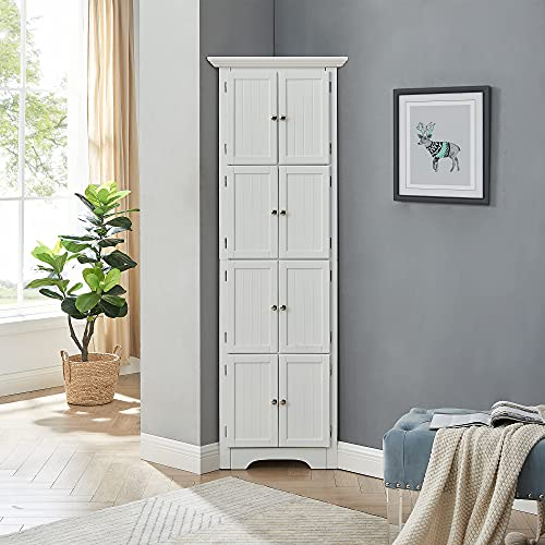"""GOOD & GRACIOUS Storage Cabinet with Shelves and Doors Large Storage Space for Living Room, Kitchen, Office, Bedroom, Bathroom, White, 24.25"""" L x 12.25"""" W x 72"""" H"""