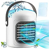 Portable Air Conditioner,3-in-1 Personal Air cooler, Evaporative with 3 Speeds,Ice Packs,2500 mAh Battery (White upgrade)