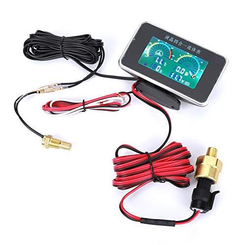 Voltímetro de pantalla digital DC Medidor de presión de aceite de temperatura del agua...