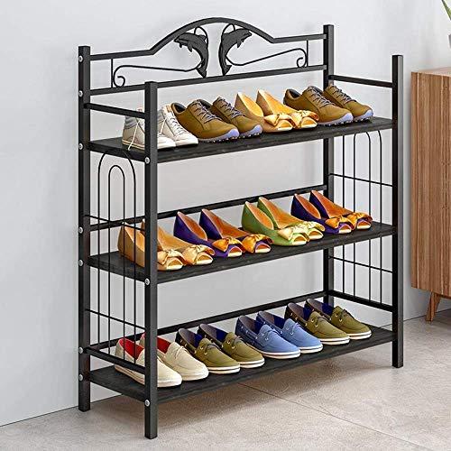 ZXL Möbel schoenenrek, 3 niveaus organizer rekken van metaal hout voor maximaal 12 paar schoenen 81 x 24 x 77 cm (B x D x H) stalen buizen (kleur: C)