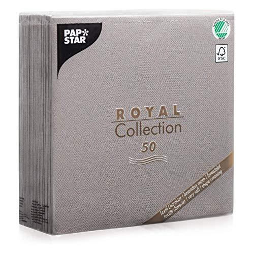 "Papstar Servietten / Tissueservietten grau \""Royal Collection\"" 40 x 40 cm, 1/4-Falz, ideal geeignet für Gastronomie, Haushalt oder Feste, FSC-zertifiziertes Material #10822, 1 X 50er Pack"