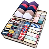 MIU COLOR Foldable Closet Underwear Organizer Drawer Divider Storage Boxes Under Bed Organizer 4 Set for Underwear, Bras, Socks, Ties, Scarves