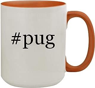 #pug - 15oz Hashtag Colored Inner & Handle Ceramic Coffee Mug, Orange