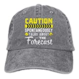 Unisex Caution Meteorologist T-Shirt Meteorology Weather Vintage Washed Twill Baseball Caps Adjustable Hat Funny Humor Irony Graphics of Adult Gift Gray