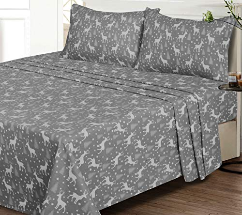Ruvanti 100% Cotton 4 Piece Flannel Sheets King , Christmas Deer, Deep Pocket -Warm-Super Soft - Breathable Moisture Wicking Flannel Bed Sheet Set King Include Flat Sheet, Fitted Sheet 2 Pillowcases