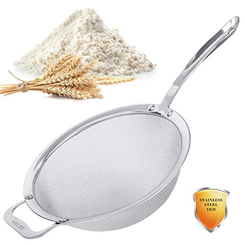 Stainless Steel 18/8 Mesh Strainer 30 Mesh Extra Fine Quinoa Sieve with Solid Sturdy Handle 9quot Large Flour Filter with Wider Hook