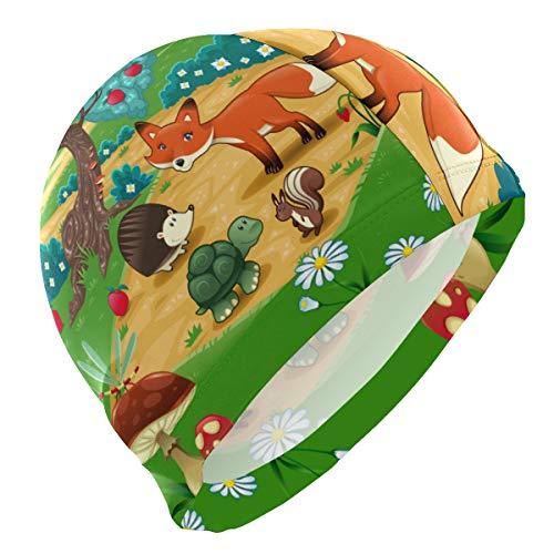 ALINLO Badekappen, Apfelbäume, Dschungel-Gras, Cartoon-Tier-Pilz, wasserfest, für Erwachsene, Männer, Frauen, Jugendliche, Mädchen, Jungen