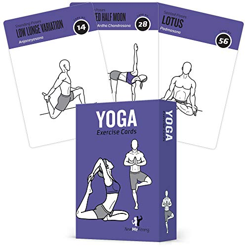 Yoga Cards, Pose Sequence Flow - 70 Yoga Poses, 9 Sequences - Sanskrit & English Asana Names - Yoga Sequencing & Flow Practice Guide for Beginner & Intermediates - Durable Plastic from NewMe Fitness