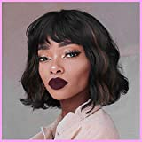 Sué Exquisite Short Wavy Wigs with Bangs Synthetic Bob Curly Hair for Women Black Mixed Brown Wig Natural Looking Highlights Wig Heat Resistant Fiber for Daily Costume Wig