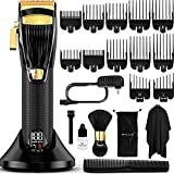OVLUX Professional Hair Clippers for Men - Rechargeable Electric Cordless Trimmer with 12 Guide Combs, Brush, Oil, Storage Case for Professional Barbers & Beginners - Adjustable Taper Length 0.8 - 2mm