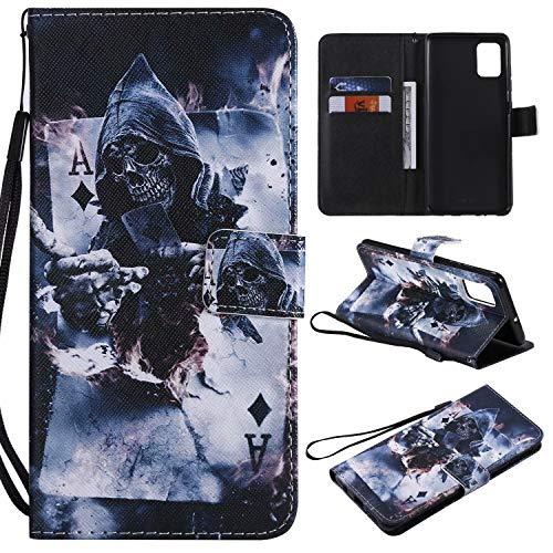 Miagon Flip PU Leder Schutzhülle für Samsung Galaxy A71,Bunt Muster Hülle Brieftasche Case Cover Ständer mit Kartenfächer Trageschlaufe,Zauberer