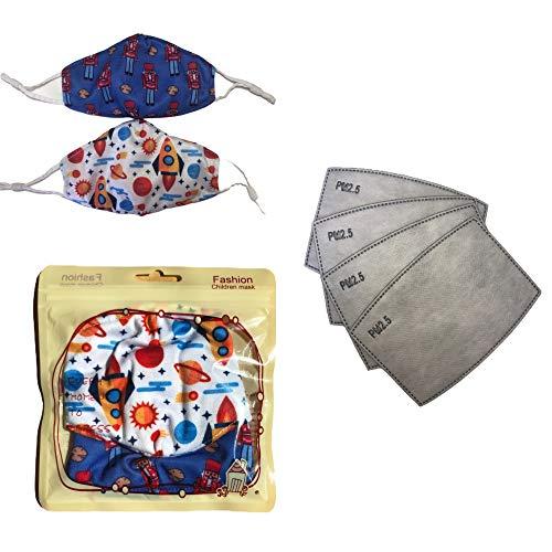Pack de 2 mascarillas reutilizables para niños de 6 a 12 años con 4 filtros de carbon activo PM2.5