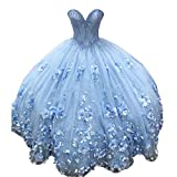 Pearls 3D Flowers Quinceanera Prom Dresses Glitter Tulle Strapless Prom Dress Ball Gowns for Sweet 15 Girls Bahama Blue 2