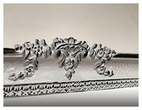 Lnxp Espejo de pared de estilo barroco, rectangular, en blanco y negro, bicolor, decoración barroca, con marco, 96 x 57 cm