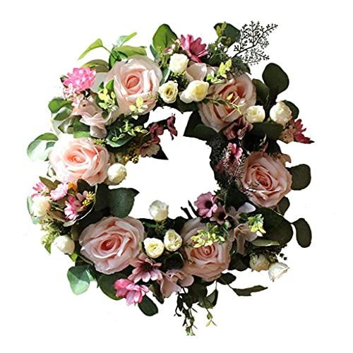 OMMO LEBEINDR Guirnalda Floral, Artificial Puerta Corona, Floral Garland, Garland Rose romántica Simulación de decoración de la Boda del Partido (Rosa Claro)