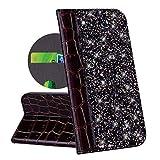 QPOLLY Coque Portefeuille Compatible avec Xiaomi Mi 6X/Mi A2 Housse à Rabat, Bling Glitter Paillettes Cuir PU Etui Flip Folio Clapet Magnetic Cover avec Fonction de Support Porte Carte,Noir