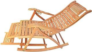 Silla Gravedad Cero Tumbonas Tumbona De Bambú Tumbona Mecedora - Reclinador Ergonómico De Madera para Jardín Patio Piscina Sauna, Soporte 200 Kg