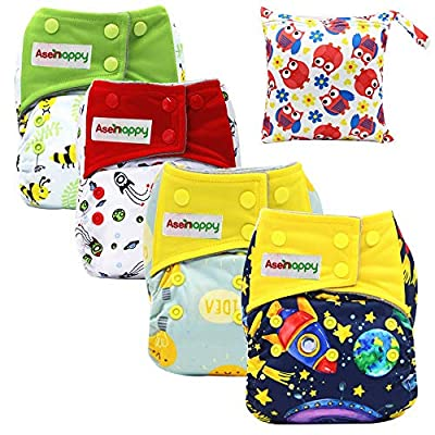 Asenappy All in One Cloth Diaper Reusable AIO Sewn Inserts with Pocket Overnight (AIO-4P09)