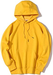 Sweatshirt Men's Plus Velvet Hooded Pullover, Autumn and Winter Plus Velvet Loose Long-Sleeved Drawstring Hooded Sweatshirt (Color : Yellow, Size : XL)