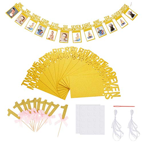 SIMUER 1st Birthday Bunting Banner Photo Frame Banner Garland Baby 1-12 Month Photo Prop Party Bunting Decor First Birthday Celebration Decoration with 10PCS Gold 1st Birthday Cake Toppers Bowknot