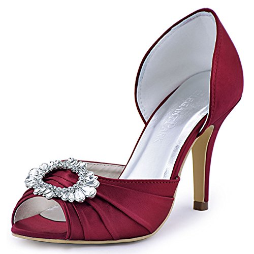 ElegantPark A2136 Women High Heel Pumps Peep Toe Brooch Ruched Satin Evening Prom Wedding Shoes Burgundy US 9