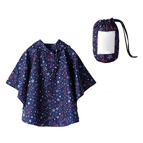 Poncho de Niña, Chubasquero Niño,Impermeables para Hombres y Mujeres para Niños, Impermeable Capa con Capucha Estrellas azules/L