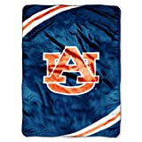 NCAA Auburn Tigers Force Royal Plush Raschel Throw Blanket, 60x80-Inch