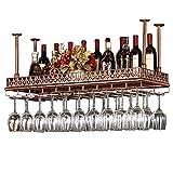 Equipo de vino de bar / botellero Retro Pared Vino Bastidores del hierro del metal Estante de almacenamiento en Wall Bar Loft montaje en techo que cuelga del vino de Champagne Glass Copas Copas estant