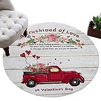 カーペット 円形 ラグマット バレンタイン バラ ラブハット グレー じゅうたん シャギーラグ 絨毯 ふわふわ マイクロファイバー 防音 滑り止め付 床暖房 ホットカーペット対応 おしゃれ 直径 152cm