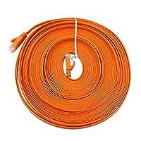 小型減衰ルーターケーブル、ポータブルフラットLANケーブル、ホームオフィス用のオレンジ色の低クロストーク絶縁(15M)