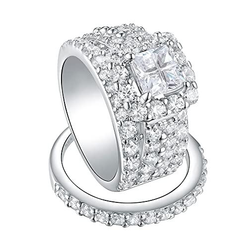 Wuziwen 4Ct Princess Cut Engagement Rings for Women Wedding Set CZ Sterling Silver Size 7