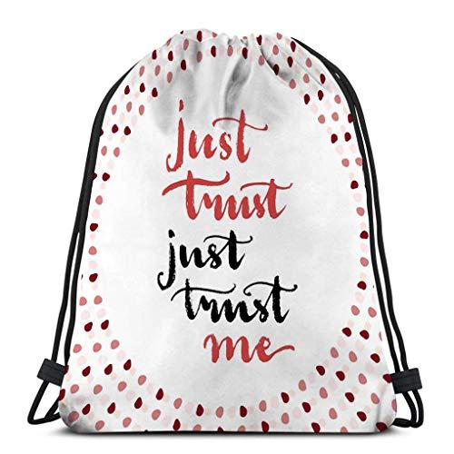 KKs-Shop Bolso clásico con cordón Bolsa de Almacenamiento Deportivo para Hombre Mujer Solo confía en mí Tarjeta de boletín Mensaje de Amor Pintura