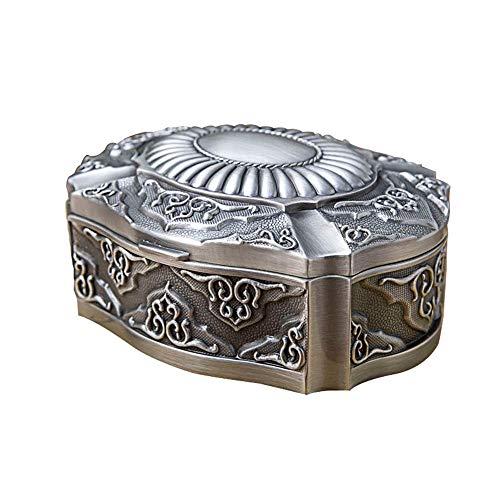 GJHT Organizador de Caja de joyería Caja de joyería de Metal Home Desktop Metal European Retro Joyería Caja de Almacenamiento para Mujeres Chicas (Color : Silver, Size : 12.7X10X5.5CM)
