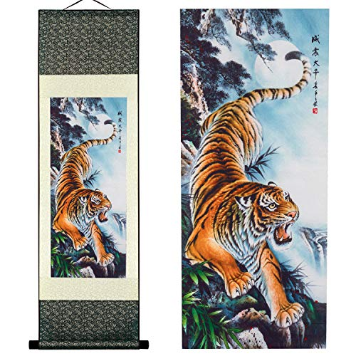 UNIQUELOVER Asian Silk Scroll & Home Decorate Tiger Picture Scroll & Wall Scroll Hanging Artwork Painting