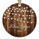 Future Lawyer Christmas Ornament Law School Student 2020 College University Law School Graduation Present Rustic Xmas Farmhouse Collectible 3' Flat Circle Porcelain w/Gold Ribbon & Free Gift Box