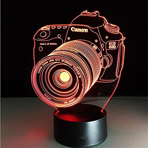 Neuheit 3D-PMMA Acryl Entertainment Kamera illusion LED Lampe USB-Tabelle Light RGB-Night Light romantische Deko Lampe am Bett
