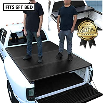 DNA Motoring TTC-HARD-060 Truck Bed Top Hard Solid Tri-Fold Clamp-On Tonneau Cover Compatible with 2005-2018 Tacoma 6Ft Bed