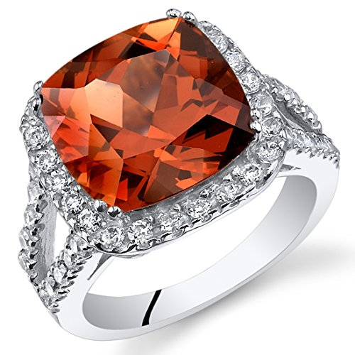 Revoni 7.50 Karat Kissenschliff erstellter Padparadscha Saphir Ring in 925 Sterlingsilber Grösse 57 (18.1)