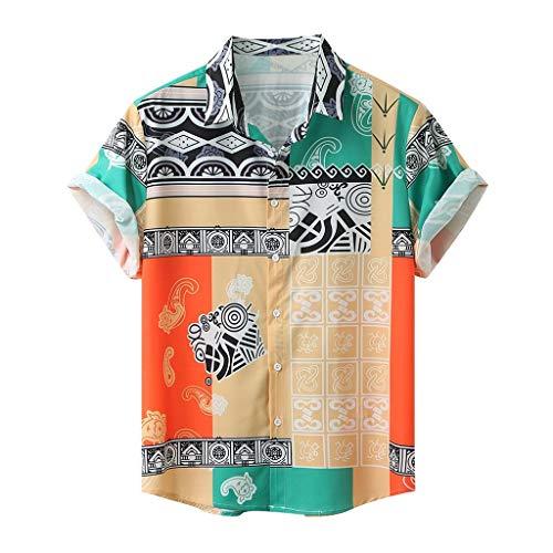 Yowablo Chemise Homme Blouse Homme Chemise à Manches Courtes Hawaiian Shirt Homme Chemise Hawaïenne pour Homme Chemises Minces Homme Chemise Casual Homme Shirt Tee Shirts (XXL,3Jaune)
