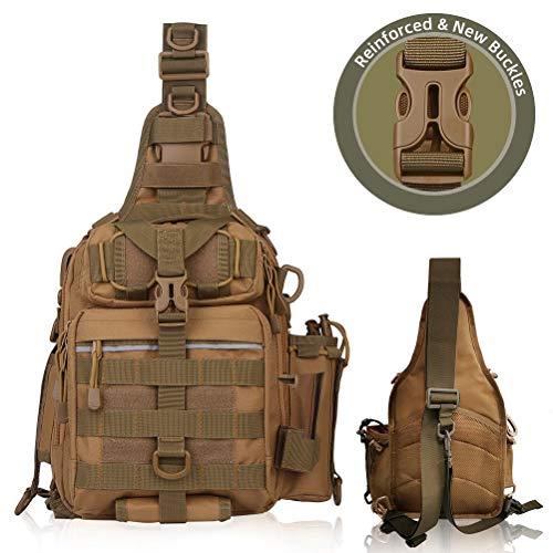 Blisswill Angelrucksack, große Angeltasche, für draußen, wasserabweisender Angelrucksack mit Rutenhalter, Schulterrucksack, khaki