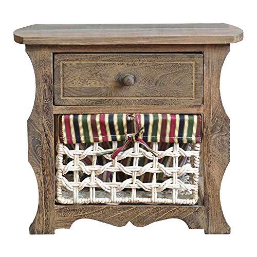 Houten Nachtkastje, Retro Lockers, met lade en verwisselbare Rijs Geweven Storage Basket, voor slaapkamer en woonkamer, 50x33x44cm,Wood